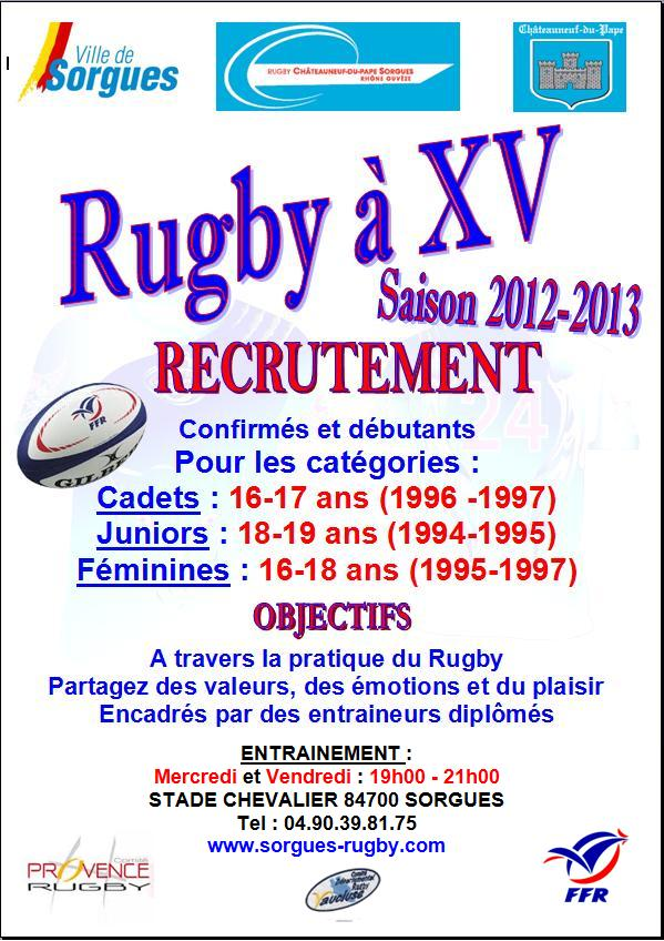 rugby f�minine cadets juniors vaucluse recrutement
