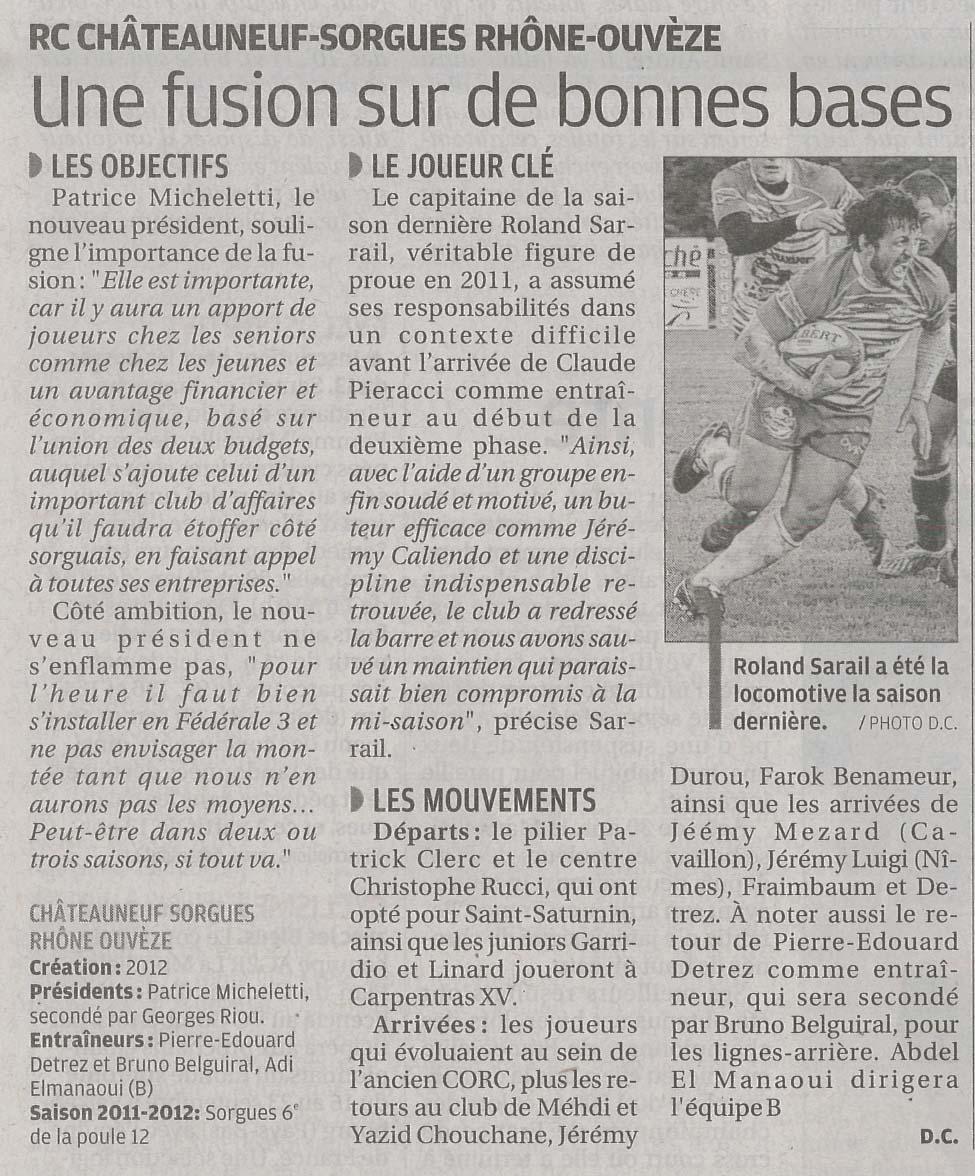 Article de presse La provence 11/09/12